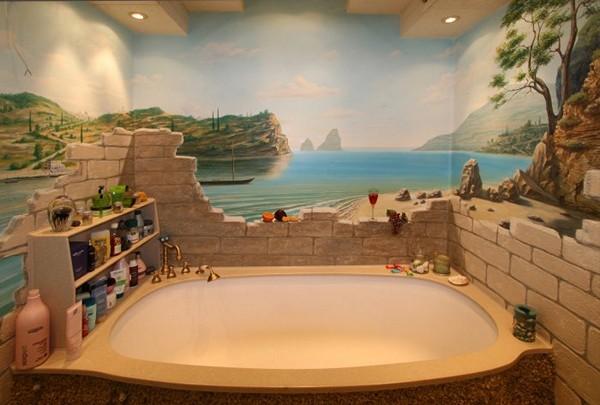 как покрасить стены в ванной комнате