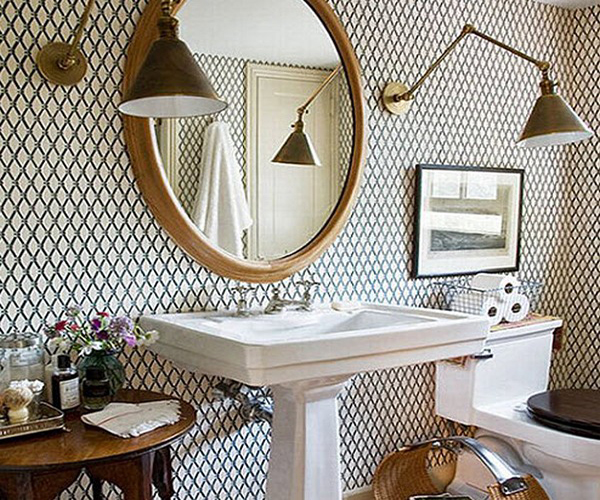 облицовка стен в ванной обоями фото