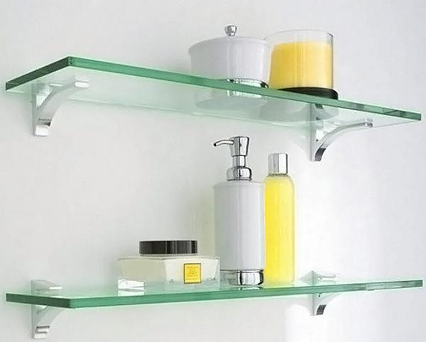 стеклянные полки в ванную фото