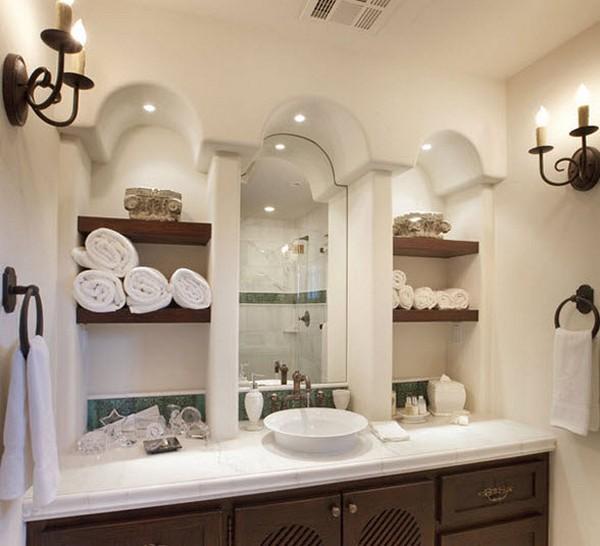 встроенные полки в ванной комнате фото