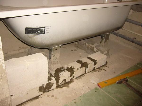 установка стальной ванны своими руками фото