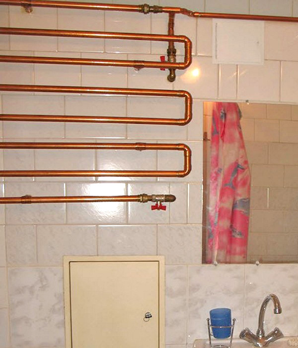 медный полотенцесушитель для ванной фото