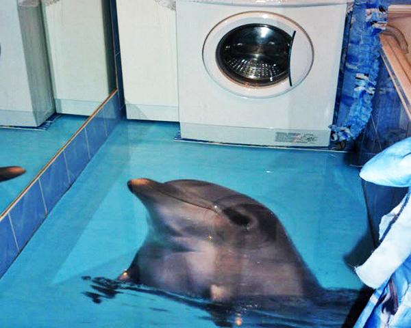 наливные 3d полы в ванной фото