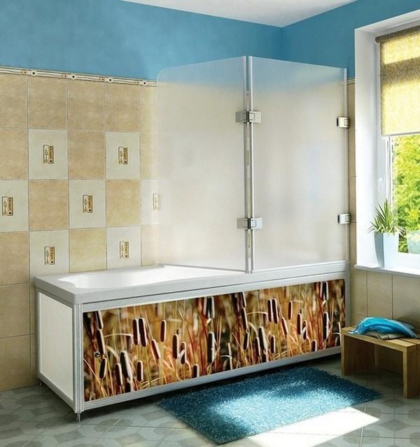 шторки для ванной стеклянные раздвижные фото