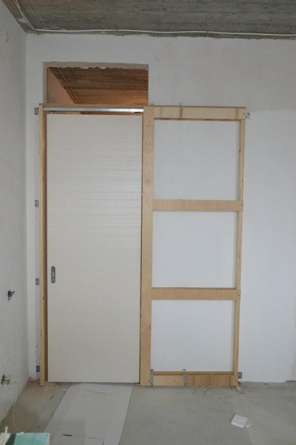 как установить раздвижную дверь в ванную фото