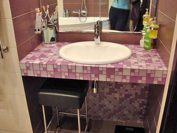 столешница для ванной из мозаики фото