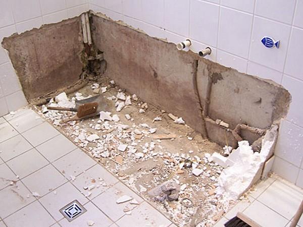 как демонтировать чугунную ванну своими руками фото