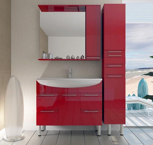 красный гарнитур для ванной комнаты фото