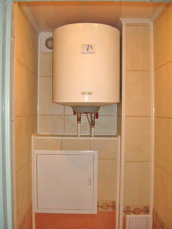 установка водонагревателя в ванной комнате в нишу фото
