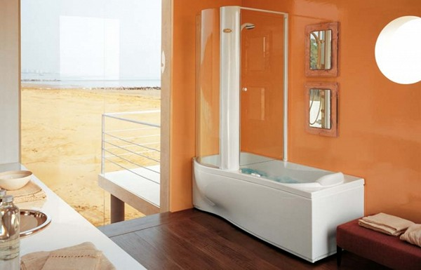комбинированная ванна с душевой кабиной фото