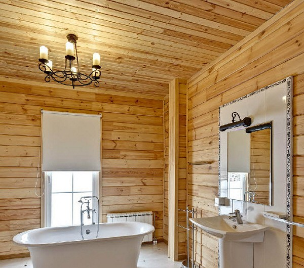 потолок ванной в деревянном доме фото