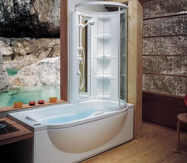 совмещенная ванна с душевой кабиной фото