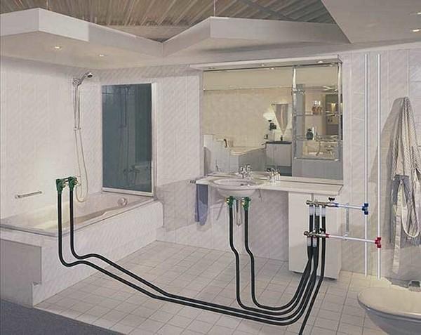 как проложить водопровод в ванной частного дома фото