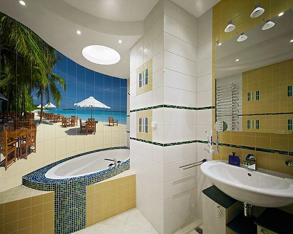 Фотоплитка для ванной комнаты: преимущества, варианты использования, особенности ухода