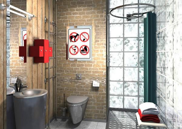 интерьер ванной в стиле лофт фото