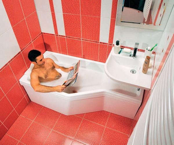 акриловая ассиметричная ванна фото