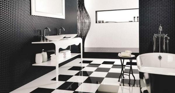 черно белая плитка для ванной фото