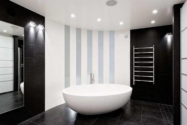 дизайн черно белой ванной комнаты фото