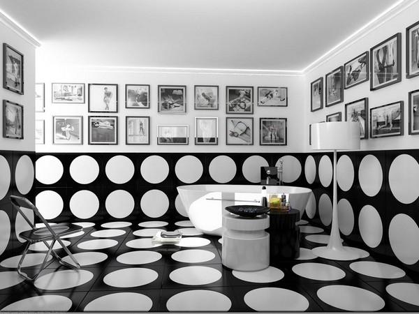 Черно-белая ванная комната: классика контрастного интерьера
