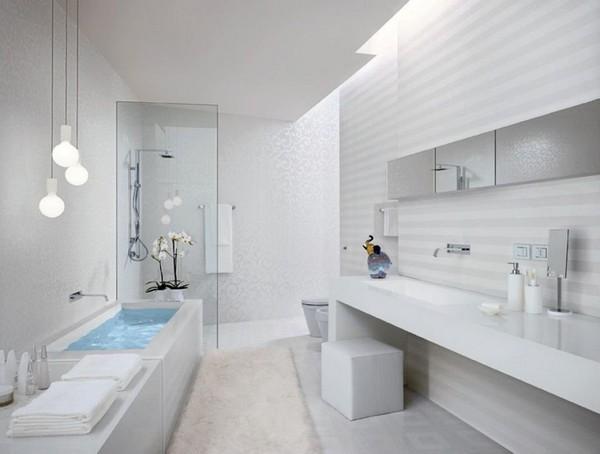 дизайн ванной в белых тонах фото