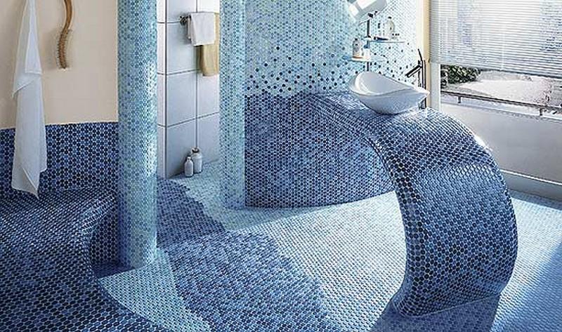 стеклянная мозаика для ванной фото