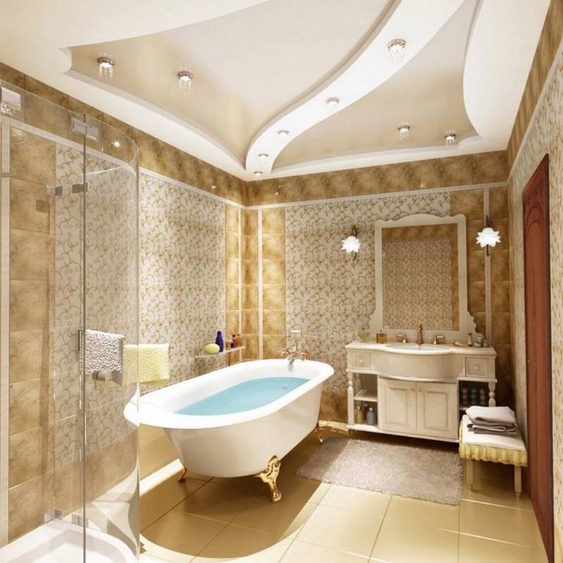 чем отделать потолок в ванной фото