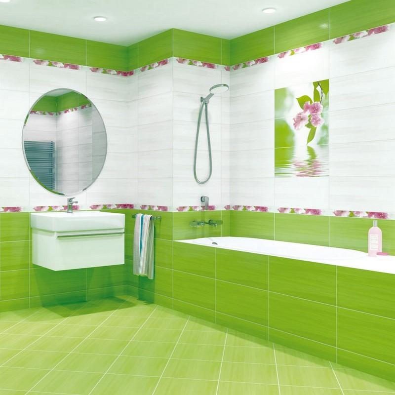 бело зеленая ванная комната фото