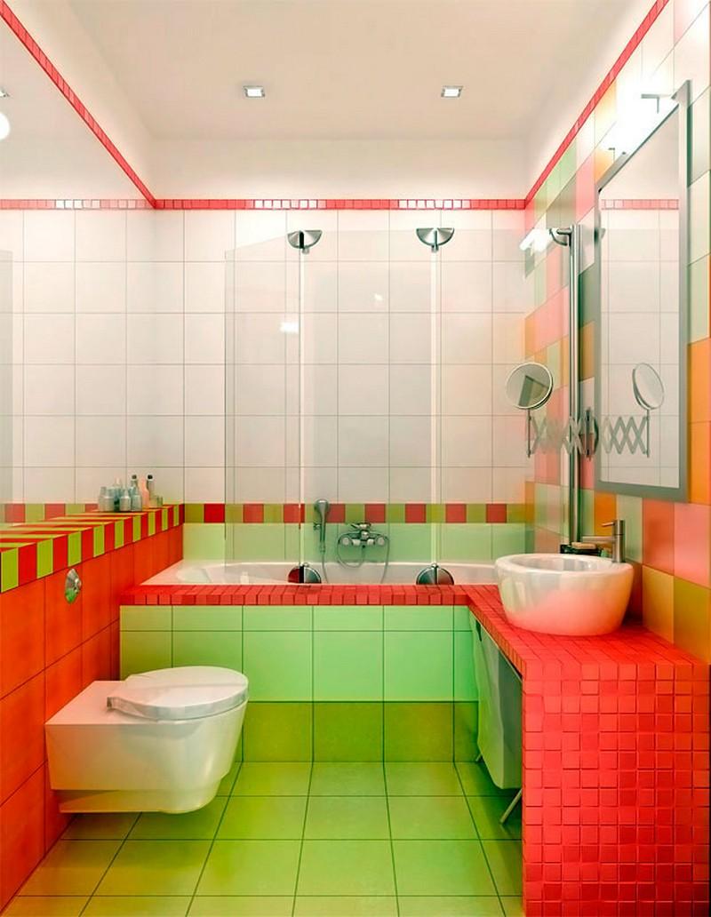 зеленая ванная с красным фото