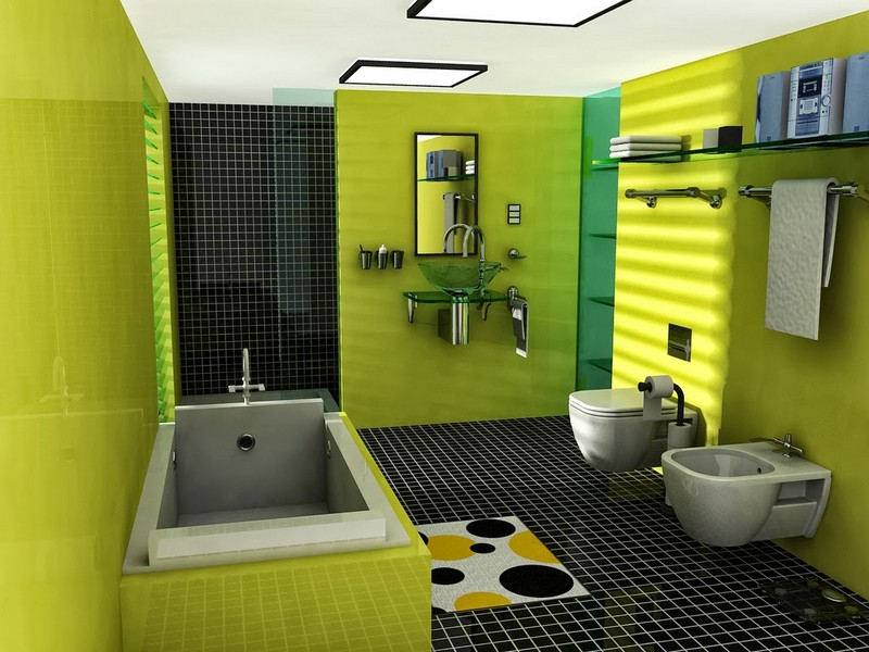 зелено черная ванная фото