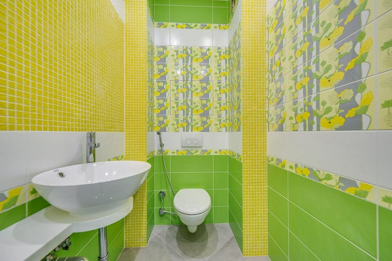 желто зеленая ванная комната фото