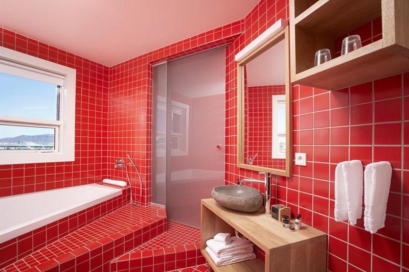 дизайн красной ванной комнаты фото