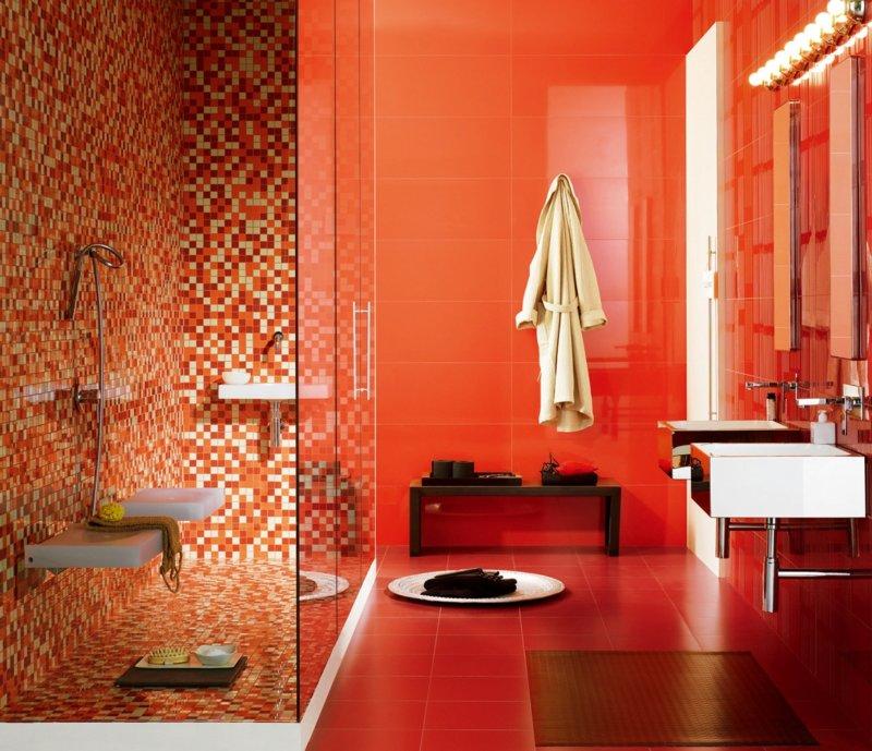 оттенки красной ванной фото