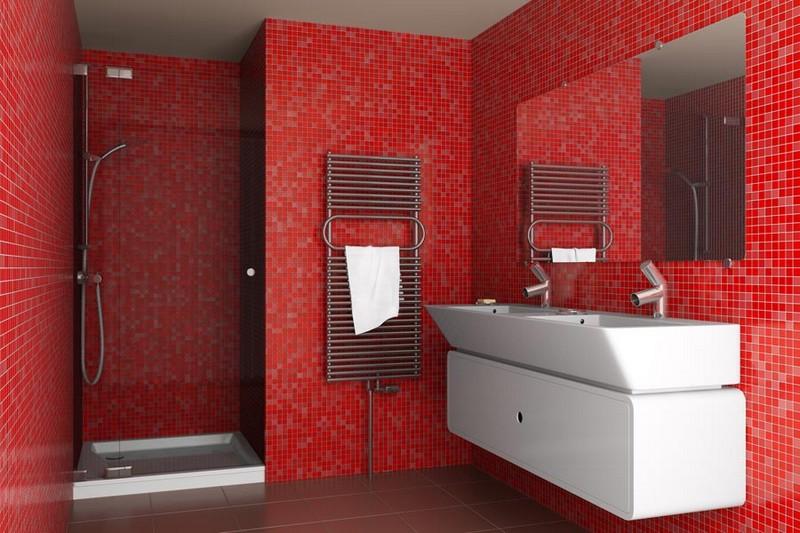 ванная комната в красных тонах фото