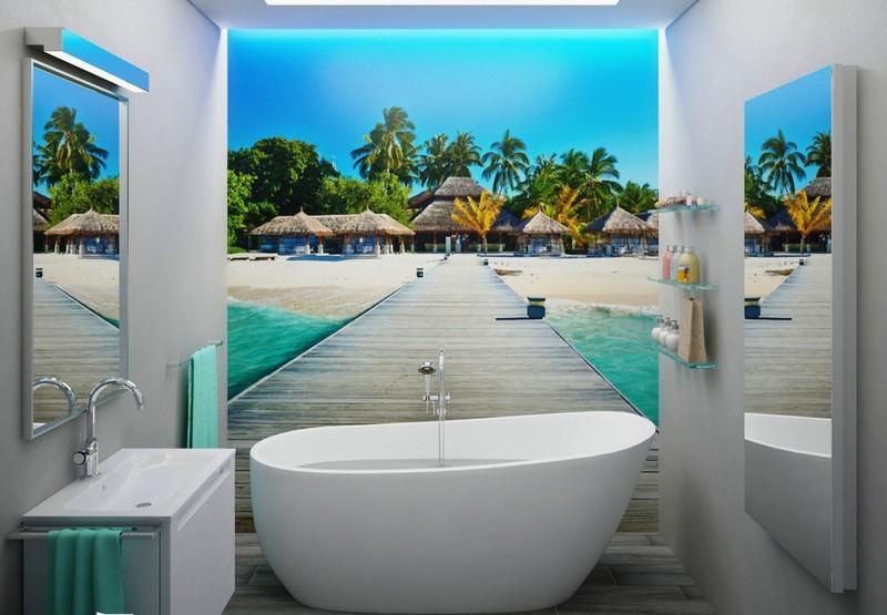 фотообои 3d для ванной комнаты фото