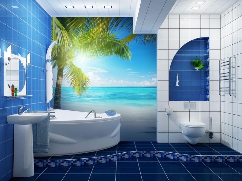 влагостойкие фотообои для ванной комнаты фото