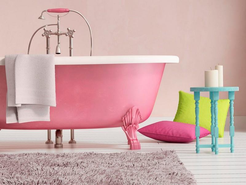 дизайн ванной комнаты розового цвета фото