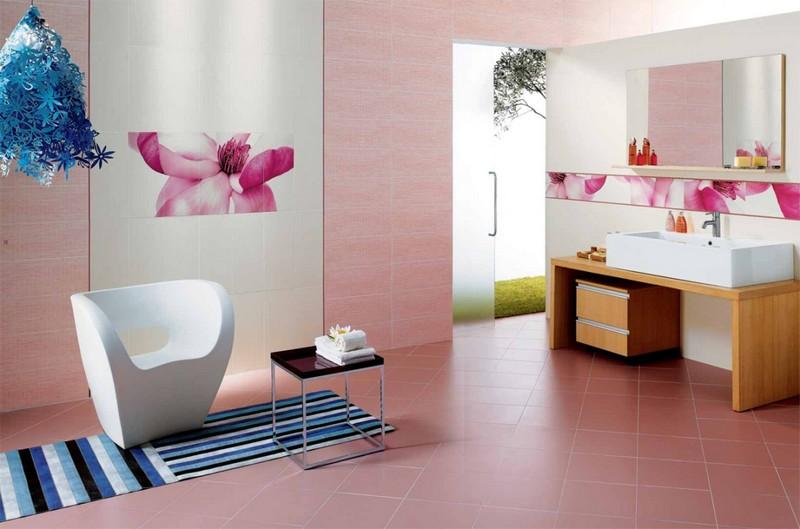 как оформить розовую ванную фото