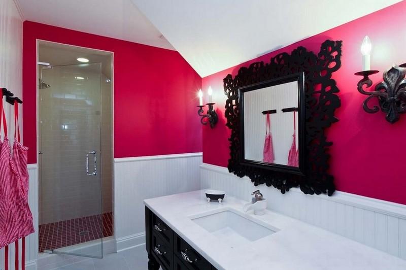 розово черная ванная фото