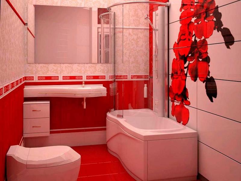 розово красная ванная комната фото