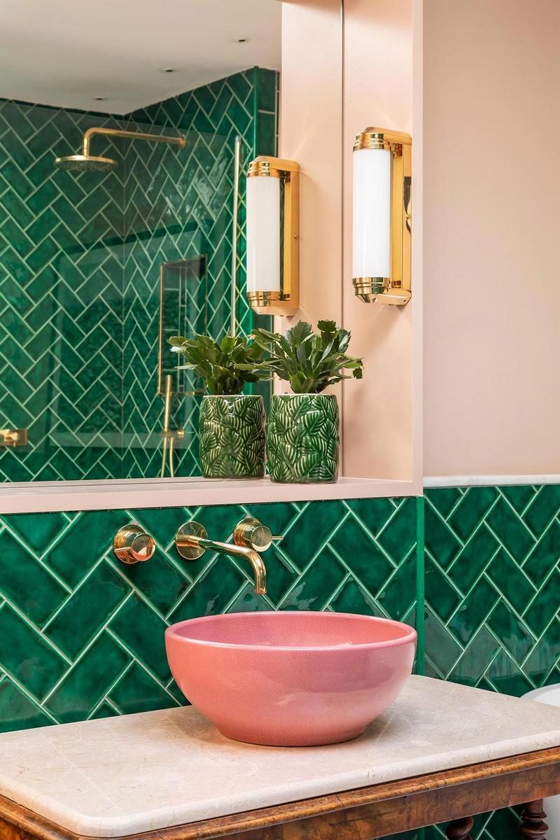 розово зеленая ванная комната фото