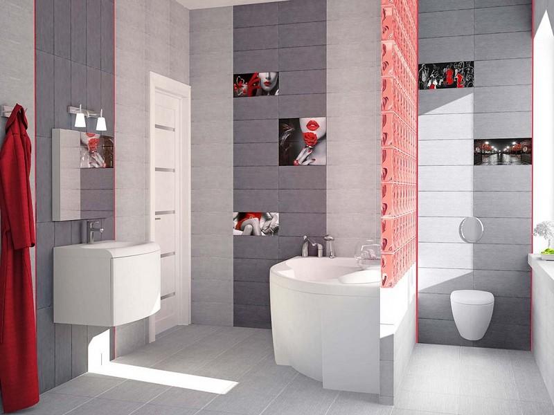 серо-розовая ванная комната фото