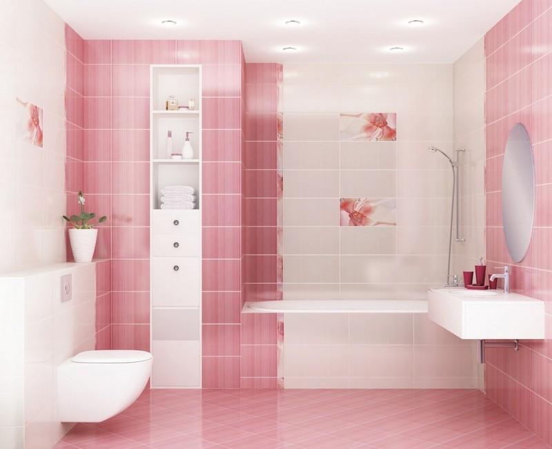 бело-розовая ванная комната фото