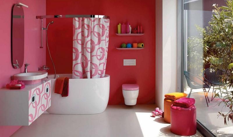 ванная комната в розовом цвете фото