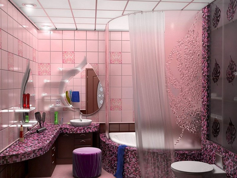 ванная комната в розовых тонах фото