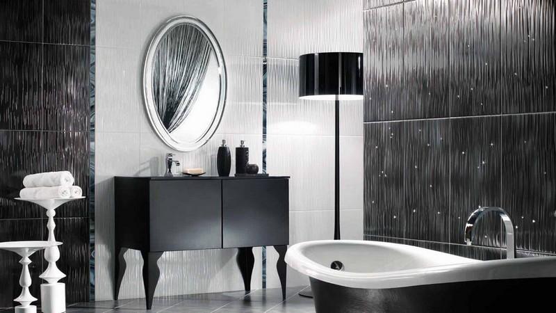 черно серая ванная комната фото