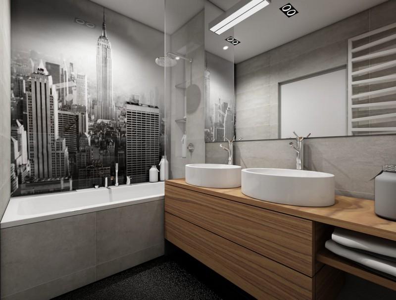 дизайн серой ванной комнаты фото