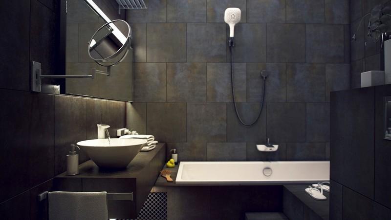 серая плитка в ванной комнате фото