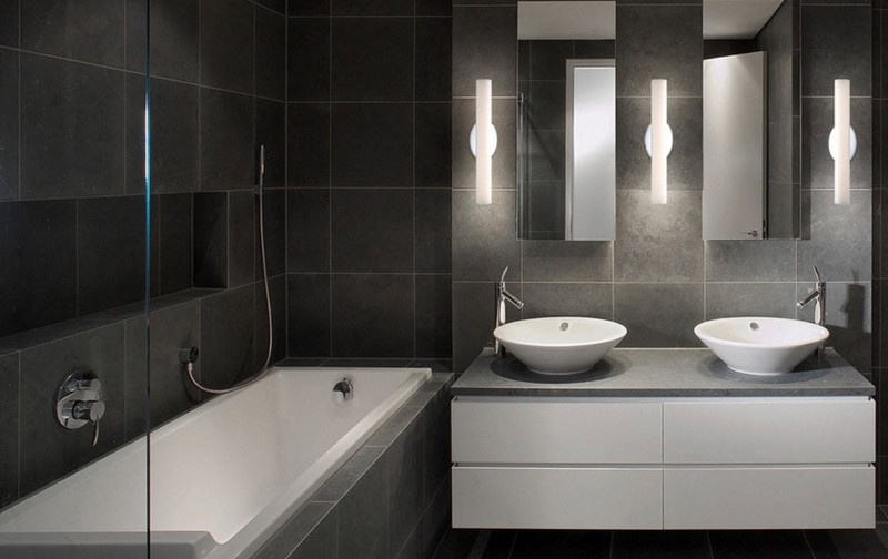 серо белая ванная комната фото