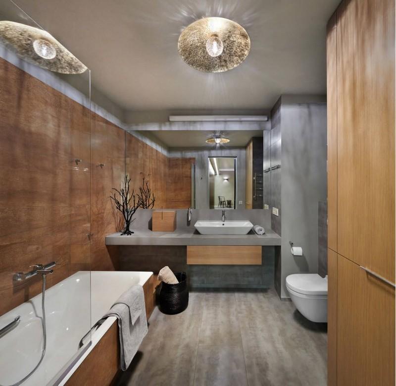 серо коричневая ванная фото