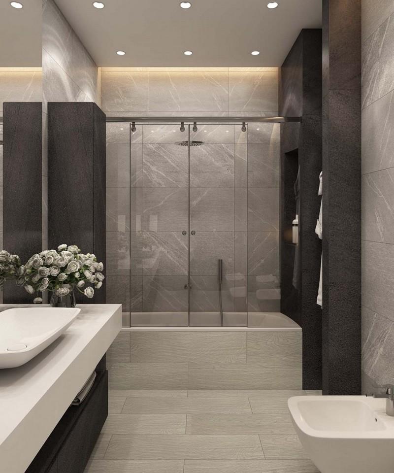 ванная комната в серых тонах фото